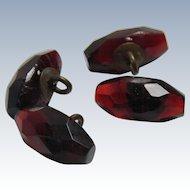 Antique Faceted Cognac Glass Button Set 4