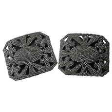 French Steel Cut Shoe Clips Buckles Edwardian Era - Red Tag Sale Item