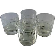 Mid Century Low Ball Bar Glasses Etched