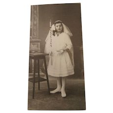 Heirloom Photo Little Girl In Her Confirmation Dress