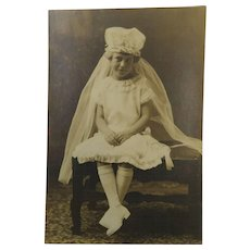 Little Girl Confirmation Sweet Dress Antique Photograph