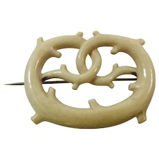 Lovers Knot 19th Century Artisan Carved Bone Brooch