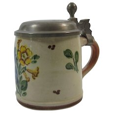 Pottery Stein Pewter Lid Countryside Floral