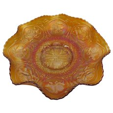 Fenton Lotus And Dragon Bowl Marigold