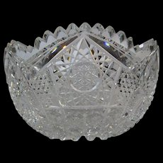 American Brilliant Cut Glass Signed Irving Bowl