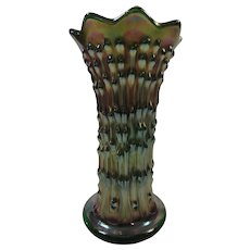 Carnival Glass Iridescent Vase Purple Green