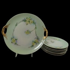 Hand Painted Cake Set Yellow Roses Vines 1920s