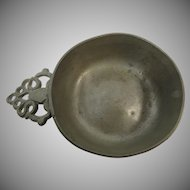 New England Pewter Porringer Early American