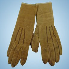 French Doeskin Kidskin Childs Gloves Made By Ronsard