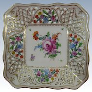 Dresden Flowers Reticulated Pierced Square Bowl
