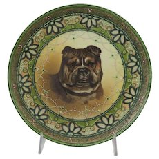 Bull Dog Plate Handpainted Nippon With Moriage