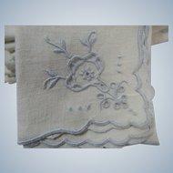 8 Linen Napkins Luncheon or Bridge Pale Blue Embroidery