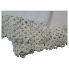 White Vintage Pair of Pillowcases With Hand Crochet Edging