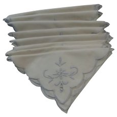 Set of 8 Vintage Luncheon Napkins With Baby Blue Trim