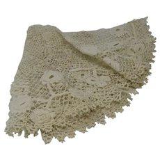 Dainty Ecru Crochet 18 Inch Round Doily