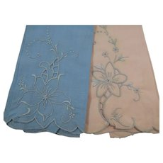 Set of Two Sweet Fingertip Towels Pink Blue Embroidered