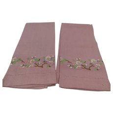 Embroidered With Apple Blossoms Two Pink Fingertip Towels