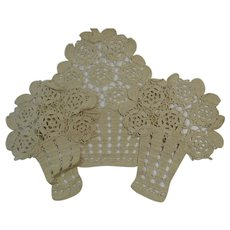 Ecru Crochet Chair Covers 3 Piece Set Atimacassar