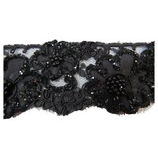4 Yards of Jet Black Lace With Beads and Glitter