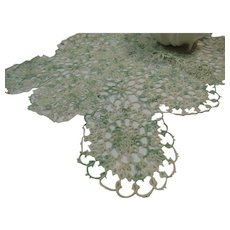 Tatted Rectangular Doily Worked in Pale Green and White