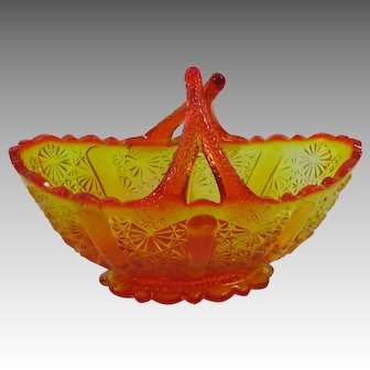 Bright Orange and Gold Glass Basket With Crossed Handles
