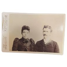 Late 1800s Cabinet Card Photograph of Mixed Race Couple