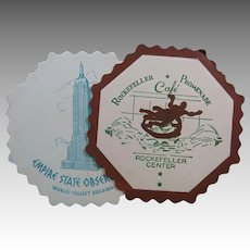 Empire State Building and Rockefeller Cafe Vintage Paper Coaster