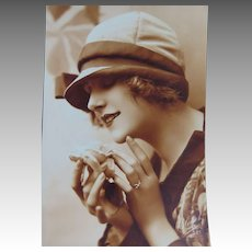 French Post Card Bluet Paris 1920s Lady in a Cloche Hat