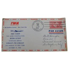 TWA Super Constellation Air Mail Cover With Cache October 19th 1953