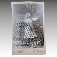 Little Girl In The Ivy Studio Cabinet Card Photographer Cardoza
