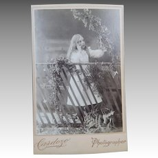 Little Girl In The Ivy Studio Cabinet Card Photographer Cardoza