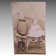 1890s Siblings On A Real Photo Post Card
