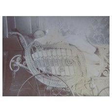 Victorian Era Wicker Pram or Buggy and Baby Snapshot