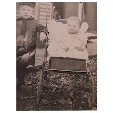 Two Siblings Posing Outside On A Sunny Day RPPC