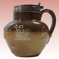 Royal Doulton Lambeth Stoneware Mustard Pot With Sterling Lid