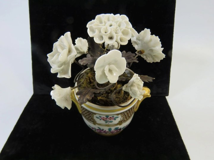 French cache pot with white porcelain flowers and ormolu leaves french cache pot with white porcelain flowers and ormolu leaves mightylinksfo