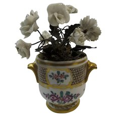 French Cache Pot With White Porcelain Flowers and Ormolu Leaves