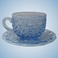 Imperial Glass Katy Blue Cup and Saucer 5 Available 1920s
