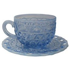 Depression Glass Imperial Katy Blue Cup and Saucer 5 Available 1920s