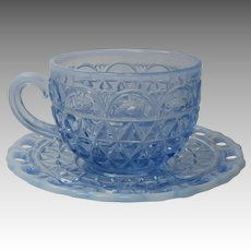 Katy Blue Cup and Saucer 5 Available Imperial Glass 1920