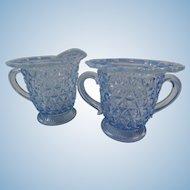 Imperial Glass Katy Blue Circa 1920 Cream and Sugar