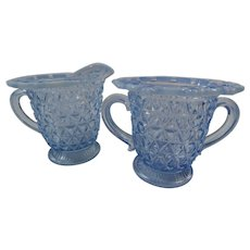 Depression Glass Imperial Katy Blue Circa 1920 Cream and Sugar