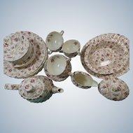 Copeland Spode Rosebud Chintz Set of 6 Plus Teapot And Serving  Pieces