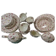 Copeland Spode Rosebud Chintz Set of 6 Plus Teapot And Serving  Pieces