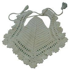 Hand Crocheted White Baby Bib Vintage Hand Worked