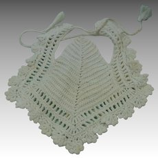 Hand Crocheted White Baby Bib Vintage Hand Worked