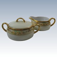 H&Co Cream and Sugar Porcelain Bavaria Hand Painted