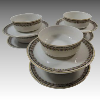 6  Bowl and Saucer Sets Cream Soup or Dessert Size Heinrich and Co