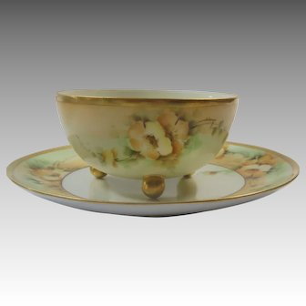 Hand Painted 3 Footed Bowl and Under Plate Yellow Wild Rose