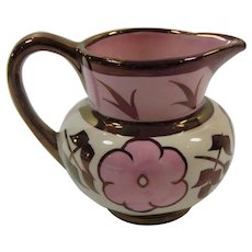 Copper Luster Mini Creamer Pink Flowers English Pottery Hanley England